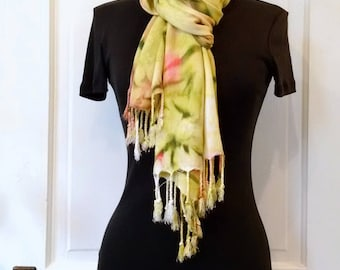 Hand-painted Scarf Wrap in Soft Green and Pink, Cozy Rayon Challis, Pashmina Wrap, 22x74 inches, Fringe, Soft Scarf