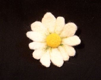 Needle Felted Flower - Yellow and White Daisy - Your choice of Pin Back, Barrette, or Pony Tail Elastic