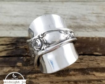 Demitasse Spoon Ring - Rose Spoon Ring - Silver Spoon Ring - Whole Spoon Ring- Vintage Spoon Ring- Rose Ring - RC Co Rose - Spoon Jewelry