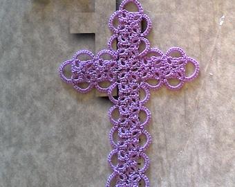 Lavender Bible Bookmark Tatted Cross Handmade Tatting