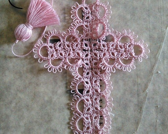 Cross Bookmark Tatted Pink Lace Tatting
