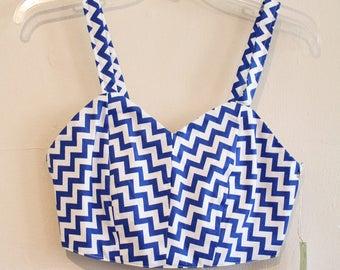OOAK Blue and white chevron crop top, womens small crop top, blue tank top, blue and white chevron stripe top, crop top