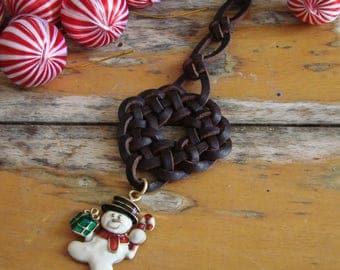 Christmas Ornament -- Wreath Knot with Snowman Christmas Tree decoration, Spanish leather, Enamel charm, Seasonal Joy, One of a Kind