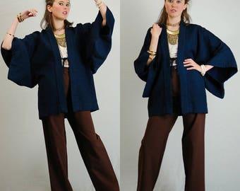 Wool Kimono Jacket Vintage Black + Blue Stripes Warm Wool Japanese Kimono Robe Jacket (one size)
