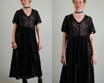 Sheer Lace Dress Vintage 90s Black Sheer Lace Draped Slouchy Grunge Maxi Dress (s m l)