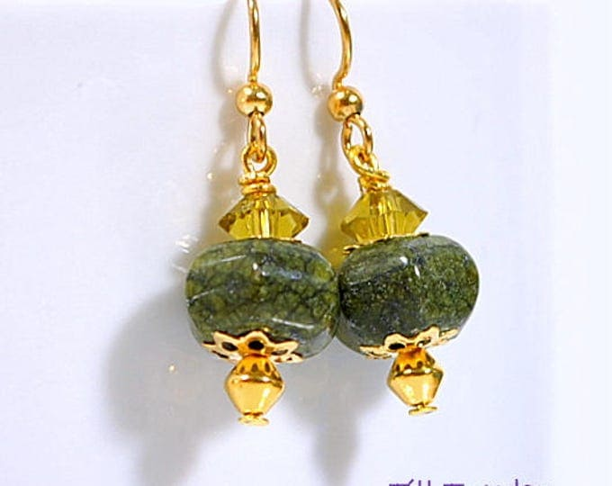 Green Gold Earrings Small Earring Drop Earrings Gemstone Earring Dangle Earring Handmade Earrings Lever Back Earring or Gold Filled