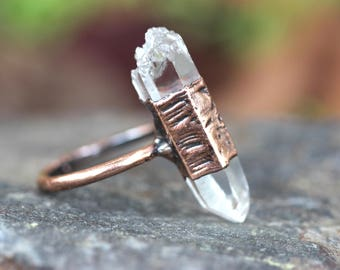 Raw Crystal Ring Healing Crystals and Stones Natural Stone Ring Bohemian Ring Bohemian Jewelry Boho Ring Boho Jewelry Crystal Point Ring