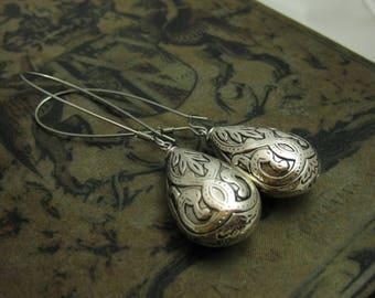 Ornamental Silver Drop Earrings Baroque Earrings Long Earrings Large Teardrop Earrings Antique Silver Jewelry Dramatic Earrings Handmade