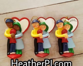 ON SALE Family Hugging Grandparents Adoption Only Child Older Child Christmas Tree Ornament Available to Personalize.