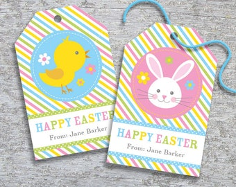 Easter gift tag etsy personalized easter gift tags diy printable hang tags easter bunny and chick negle Gallery