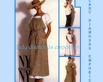 McCalls 6989 Womens Unique Apron Dress Tunic Top Pants Dress New York Collection size 8 Bust 31 1/2 Petite Size Sewing Pattern Uncut FF