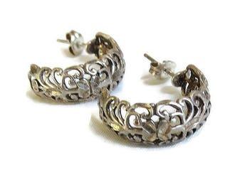 Ornate Diamond Cut Sterling Silver Hoop Earrings Vintage Signed Openwork