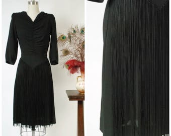 Vintage 1940s Dress - Gorgeous New York Creation 40s Black Rayon Cocktail Dress with Long Front Fringe