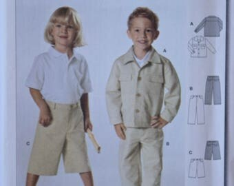 BURDA 9754 Sewing Pattern Boy's Jacket Pants and Shorts Casual Jean Jacket Style Children's Pattern UNCUT Factory Folds Sizes 3-8