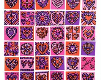 Mini Happy Heart Tiles (Sweetheart Colors)