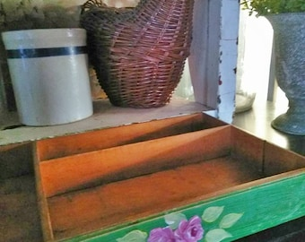 Vintage wood silverware box, flatware box, utility box, junk box, pink roses decor, shabby chic decor, farmhouse decor, country kitchen