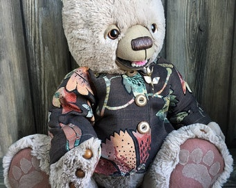 "Giggles the artist teddy bear 24"" crazy soft plush fur in a custom coat by Karen Knapp of Tindle Bears"