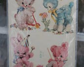 Vintage Meyercord Slide on Nursery Decal Set Puppy, Lamb, Bunny, Bear X 428