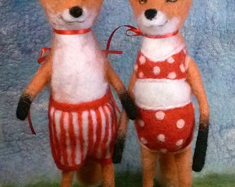 Pair of Red Fox Bathing Beauties