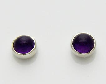 Tiny 4 mm round Amethyst sterling silver stud earrings