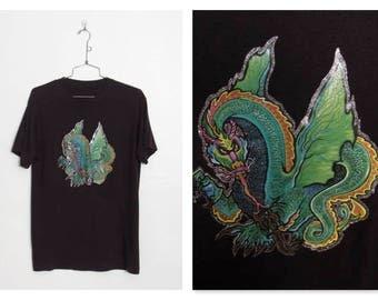 Vintage 1980s Dragon Glitter Iron-on T-shirt / 80s Black Unisex Tee