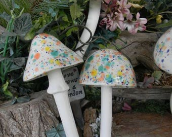 3 Ceramic  Mushroom Stakes Fruit orange  blue and yellow Crystal Glazed Pottery Garden Statues OOAK  Ready to ship