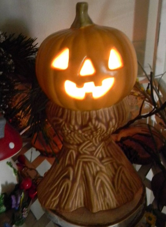 jack o lantern pumpkin on corn stalks ceramic pottery statue fall halloween jol vintage style lighted - Halloween Corn Stalks
