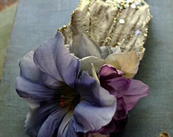 Light Fae Hair Clip Fascinator - Belly Dance, Wedding, Vegan, ATS, Tribal Fusion, Hair Garden, Purple, Lavender, Gray, Rose, Morning Glory