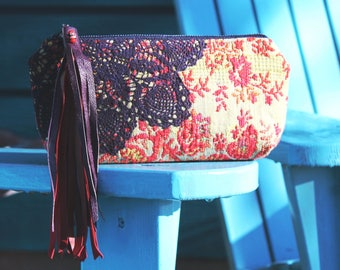 Red Purple Leather Fringe zipper pouch . Bohemian Boho Chic bag . Gypsy Girl Keepsake Clutch