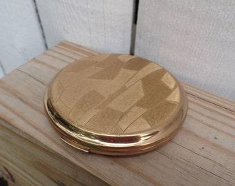 Vintage Vanity Stratton Brass Compact Round Powder Mirror Gold Tone - Retro Style - Made in England