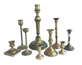 Vintage Brass Candle holder set~ Eclectic candlestick holders ~ Instant collection~ Set of 9