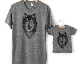 Father's Day Gift, New Dad Gift, Dad and Baby gift, Father Child Matching Tshirts, Wolf t-shirt, Father Son shirts, Father Daughter Twinning