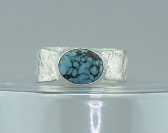 Oval Turquoise Ring -  Wide Silver Ring - Rustic Silver Ring - One of a Kind