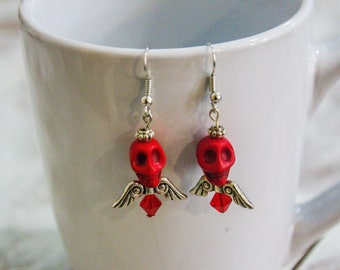 Dangle Earrings -  Red Skull