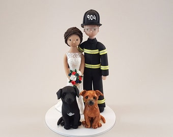 Bride & Groom with Dogs Customized Firefighter Wedding Cake Topper