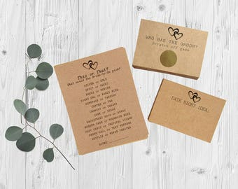 Bridal Shower Games Package - Rustic Bridal Shower Games - Hearts - Scratch Off Game & Advice Card Set - Fall Bridal Shower - Set of 3 Games