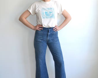 Vintage 70's Sailor Pants/ High Waisted Denim Dungarees/US Navy Bell Bottoms Patch Pockets/ distressed Blue Jeans/ Size 30 31 32R