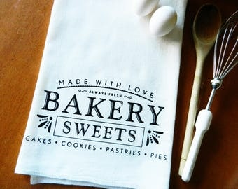 Tea Towel, Bakery Sweets Screen Printed Flour Sack Dish Towel, Foodie Gift, Baker Gift, Farmhouse Decor, Farmhouse Kitchen