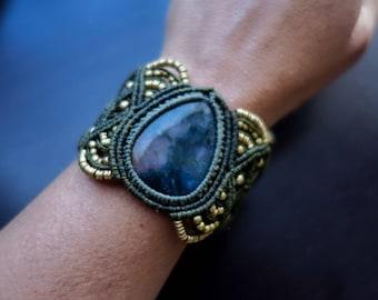 Moss Agate Macrame Bracelet   Prosperity Stone   Green Micro-Macrame   Unisex, Healing Crystal Jewelry