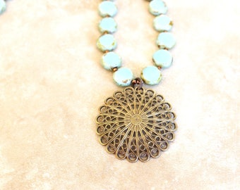 Aqua mandala necklace, Blue mandala necklace, Aqua filigree necklace, Mandala pendant necklace, Filigree necklace, Modern Vintage style