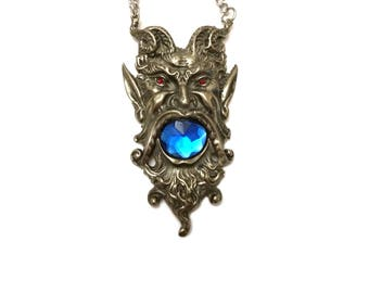 Vintage Elf Necklace - 1980s Gothic New Wave Jewelry - Magical Talisman - Horned God Deity Pendant - Fairy Fae Jewelry - Dionysus Greek God