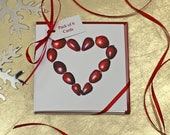 Christmas Cards - Cranberry botanical watercolour illustration - cranberry print - Christmas card pack - card with heart - Christmas invites
