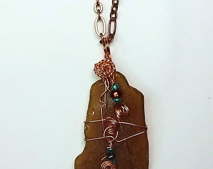 Wire Wrapped Beach Glass - Brown Sea Glass - Be-jeweled - Copper Wire Wrapped - Brown Beach Glass Pendant - Copper Chain