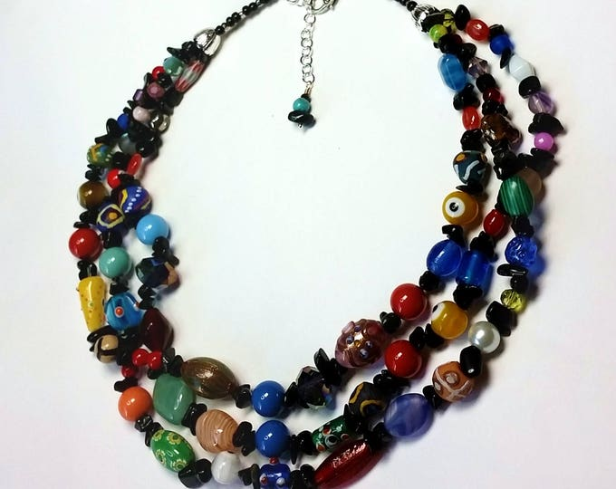 Adjustable Necklace - Rainbow Colored - Triple Strand Necklace - Variety