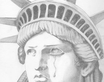 Mother of Exiles, Statue of Liberty, Crying, Pencil Drawing on Paper, 9x9 inches