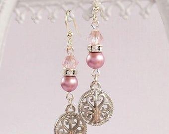 SALE 20% Off Dangle Earrings - Pink - Victorian Jewelry - Silver - La PETITE PINK