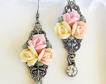 SALE 20% Off Rose Earrings - Romantic - Victorian Earrings - Vintage Jewelry - SWEET SOLSTICE