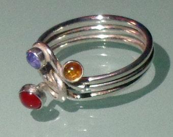 Multi Gemstone Ring Sterling Silver Handmade Bezel Set Cabochons