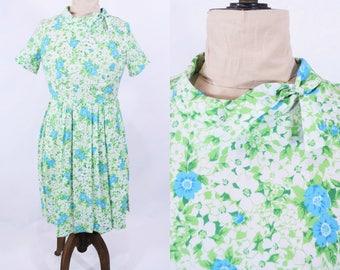 "1960s floral dress | blue green ascot necktie dress | vintage 60s dress | W 32"""