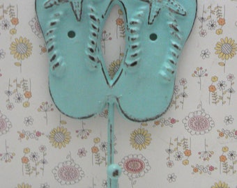 Flip Flops Starfish Cast Iron Hook Blue Cottage Chic Shabby Chic Beach Nautical Home Decor